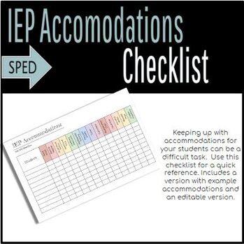 Editable IEP Accommodation Checklist