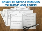 Editable IEP Friendly Reminder for Parents and Teachers!