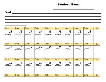 Editable IEP Goal Sheet