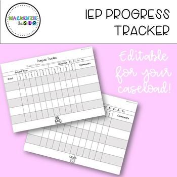 Editable IEP Goal Tracker