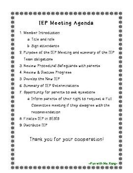 {Editable} IEP Meeting Agenda