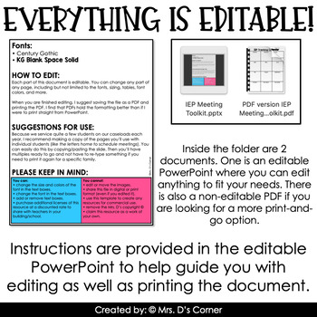 Editable IEP Meeting Toolkit for Special Education Teachers