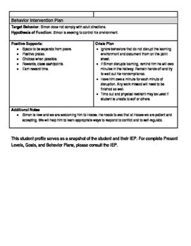 Editable IEP Student Profiles
