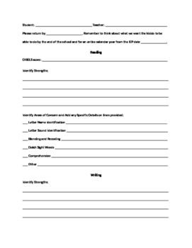Editable IEP Teacher input Form
