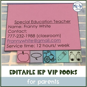 Editable IEP VIP Booklets for Parents