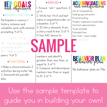iep at a glance template - editable iep at a glance brochure iep snapshot brochure