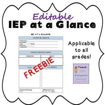 Editable IEP at a Glance Freebie