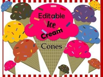 Editable Ice Cream Cone Labels