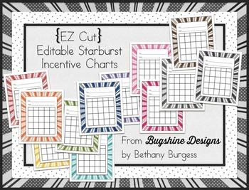 Editable Incentive Chart Printables {Starbursts}