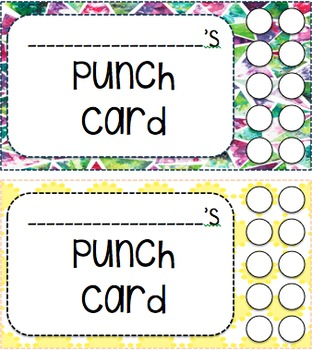 Editable Incentives Punch Cards