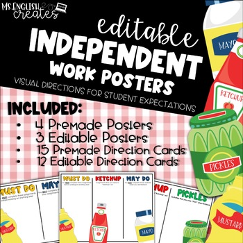 Editable Independent Work Posters