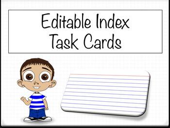 Editable Index Task Flash Cards