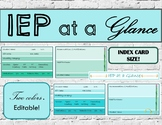Editable Index card IEP at a Glance