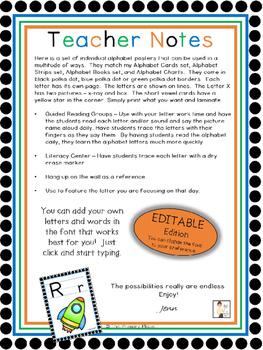 Editable Individual Alphabet Posters