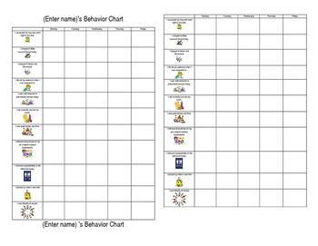 Editable Individual Behavior Chart - small version for student desk