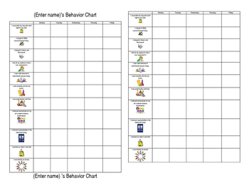 Editable Individual Behavior Chart - small version for student desk
