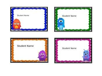 Editable Individual Student Name Tags