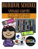 Editable Individual Student Visual Schedule Cards- Bilingual English & Spanish