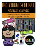 Editable Individual Student Visual Schedule Cards- Bilingu