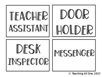 Editable, Ink-Friendly Classroom Jobs Pack