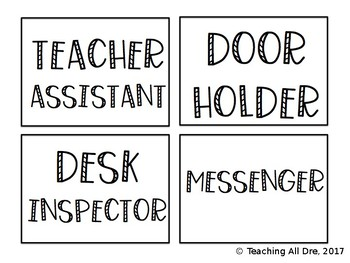 Editable, Ink-Friendly Classroom Jobs Pack