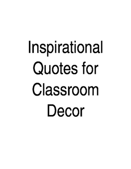 Editable Inspirational Quotes for Classroom Decor