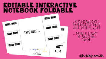 Editable Interactive Notebook Foldable
