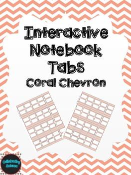 Editable Interactive Notebook Tabs -- Coral Chevron