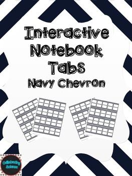 Editable Interactive Notebook Tabs -- Navy Chevron