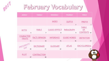 Editable & Interactive Vocabulary Calendar Template for PowerPoint