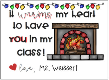 """Editable """"It Warms My Heart That You're In My Class"""" Student Holiday Card"""