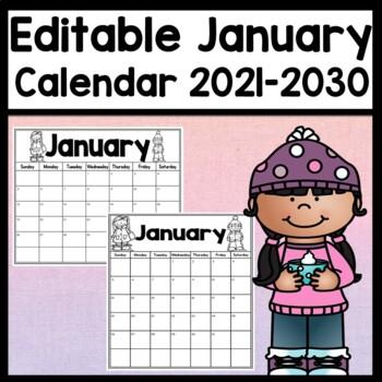 Editable January Calendar {Pages 2020-2030} {Editable January 2020 Calendar}
