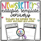 Editable January Classroom Newsletter