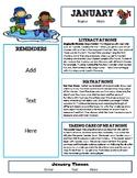 Editable January Newsletter Template for Preschool