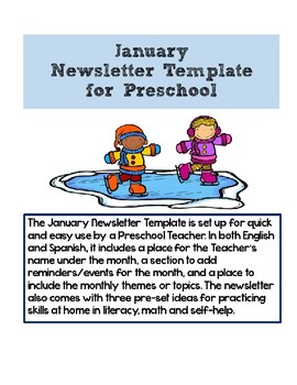 original-2936659-2 January Kindergarten Newsletter Template on cixi angel, for plants, end year, things practice, fair use, december gingerbread,