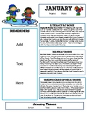 January Newsletter Template with Home Connections for Preschool