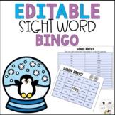 Editable January Winter Sight Word Bingo