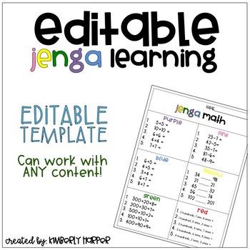 Editable Jenga Learning Template