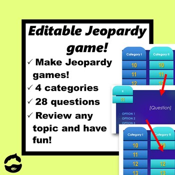 Editable Jeopardy Style Game 28 Questions