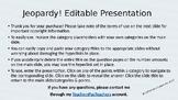 Editable Jeopardy! Template