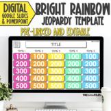 Editable Jeopardy Template Bright Rainbow Theme Google Slides