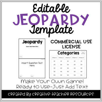 Editable Jeopardy Template: Commercial Use License