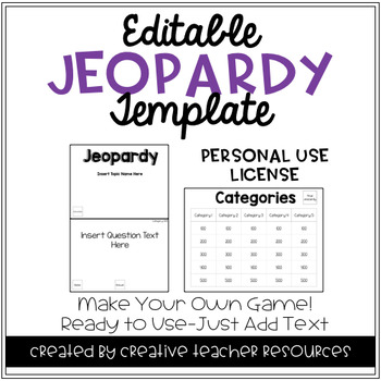 Editable Jeopardy Template: Personal Use License