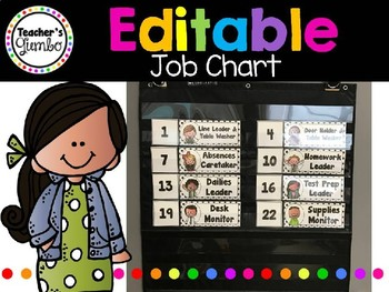 Editable Job Chart - Black and White Polka Dot Themed