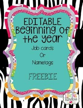 FREEBIE! Editable Cards