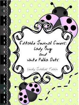 Editable Journal Covers: Ladybug Theme