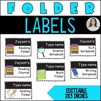 Editable Journal/Notebook/Folder Labels - Cute Black/White Checkered Pattern