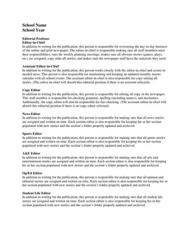 Editable Journalism Documents: Syllabus, Editorial Positions and Application