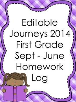 Editable 2014 Journeys Inspired First Grade Monthly Homework Log Units 1-6
