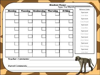 Editable Jungle Animal Behavior Chart and  Editable Behavior Calendars